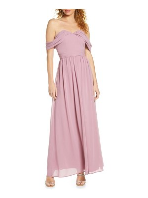 Chi Chi London albanie off the shoulder chiffon gown