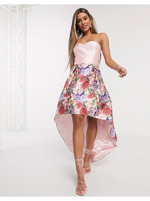 Chi Chi London bandeau prom dress with high low hem in mink floral-pink
