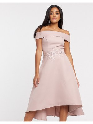 Chi Chi London bardot high low midi dress in mink-pink