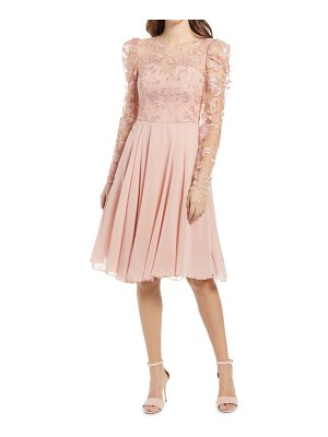 Chi Chi London dorothee long sleeve embroidered fit & flare midi dress