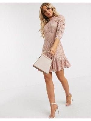 Chi Chi London flippy lace skater dress in mink-pink