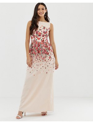 Chi Chi London floral embroidered dress in pink