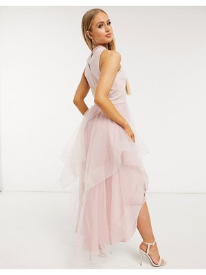 Chi Chi London hi lo dress in organza in mink-pink