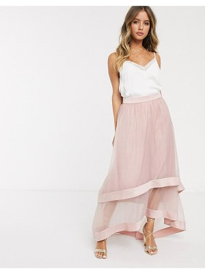 Chi Chi London high low organza maxi skirt in blush-pink