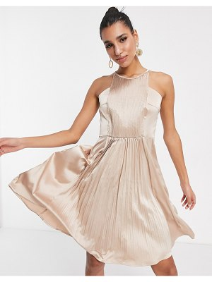 Chi Chi London high neck pleated midi dress in rose gold