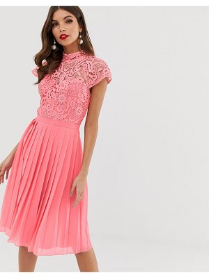 Chi Chi London lace midi dress with pleated skirt in coral