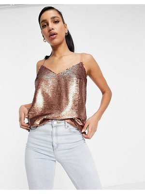 Chi Chi London sequin cami top in copper brown