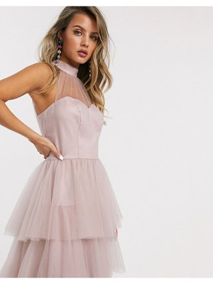 Chi Chi London tiered midi prom dress in blush-pink