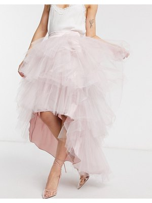 Chi Chi London tiered skirt in mink-pink
