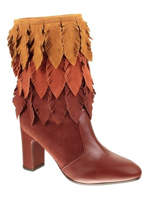 Chie Mihara Ecel Tricolor Feather Fringe Suede Booties