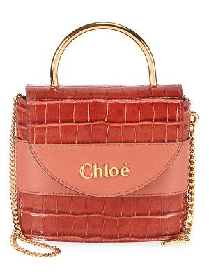 Chloe Aby Lock Croco-Embossed Shoulder Bag with Metal Top Handle