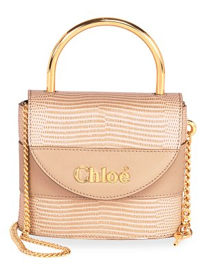 Chloe Aby Lock Lizard-Embossed Shoulder Bag