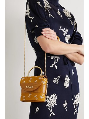 Chloe aby lock small lizard-effect leather-trimmed embroidered suede shoulder bag