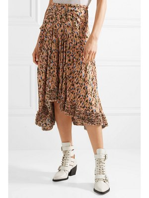 Chloe asymmetric pintucked floral-print georgette skirt