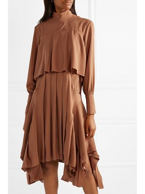 Chloe asymmetric pleated silk crepe de chine turtleneck dress