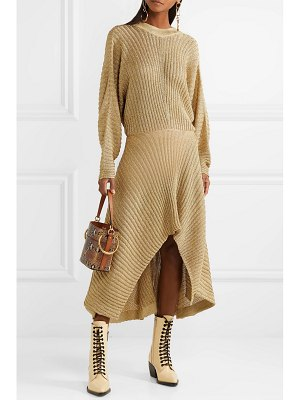 Chloe asymmetric ribbed lurex midi dress