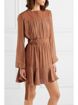 Chloe belted mousseline and silk-blend crepe mini dress