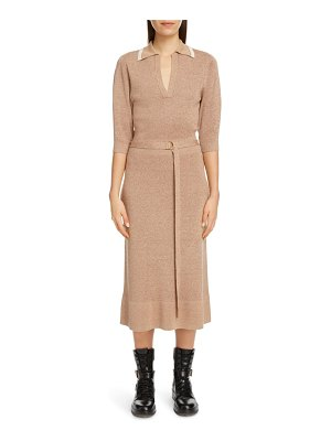 Chloe belted silk & wool midi sweater dress