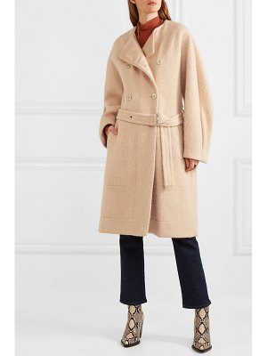 Chloe belted wool-blend grain de poudre coat
