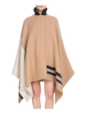 Chloe Button-Front Multicolor Iconic Soft Wool Oversized Cape