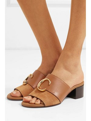 Chloe chloé c logo-embellished leather and suede mules