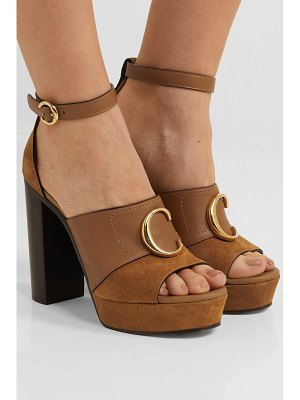 Chloe chloé c logo-embellished leather and suede platform sandals