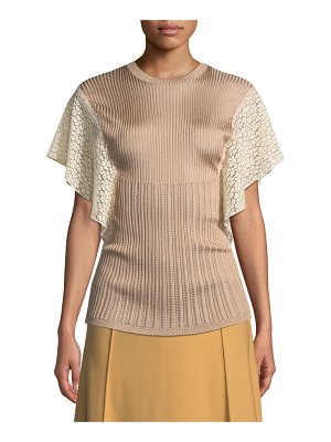 Chloe Crewneck Short Lace Flutter-Sleeve Knit Top