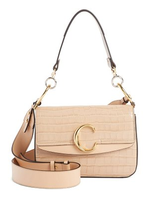 Chloe croc embossed leather shoulder bag