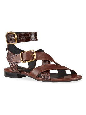 Chloe Daisy Mixed Leather Strappy Sandals