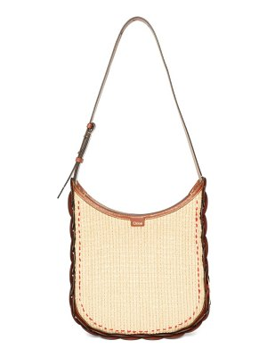 Chloe darryl medium raffia and leather shoulder bag