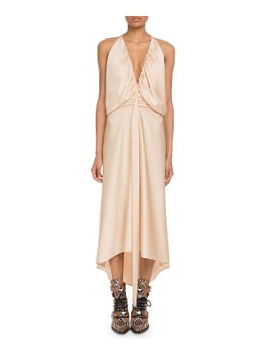 Chloe Deep-V Sleeveless Ruched Crepe Back Satin Cocktail Dress