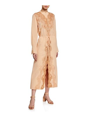 Chloe Demask Lace Crepe Shirtdress