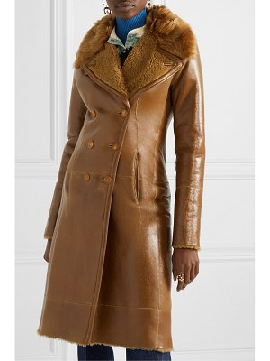 Chloe double-breasted glossed-shearling coat