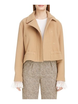 Chloe drawstring hem crop wool blend coat