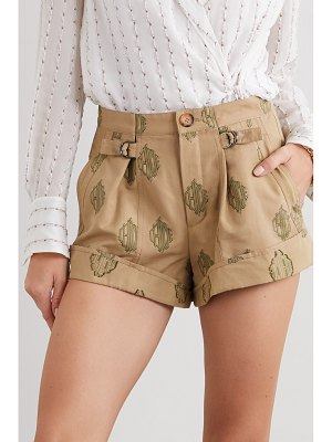Chloe embroidered pleated cotton shorts