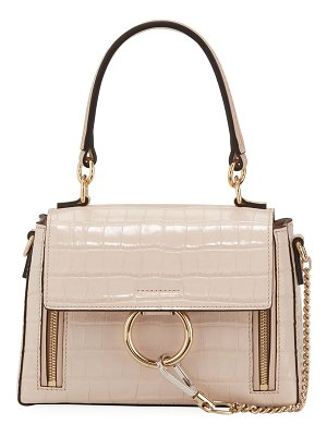 Chloe Faye Day Small Croc-Embossed Shoulder Bag