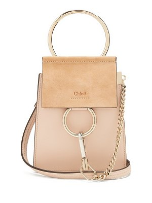 Chloe Faye mini suede-panel leather cross-body bag