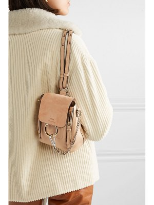Chloe faye mini textured-leather and suede backpack 16b00407fa
