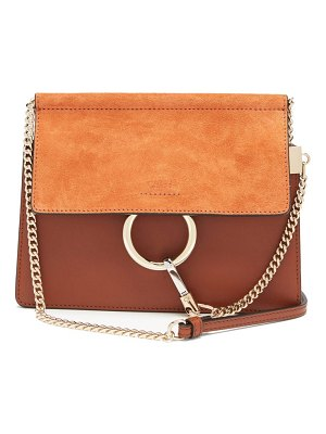 Chloe faye small leather and suede cross-body bag