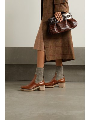 Chloe franne ribbed wool and leather ankle boots