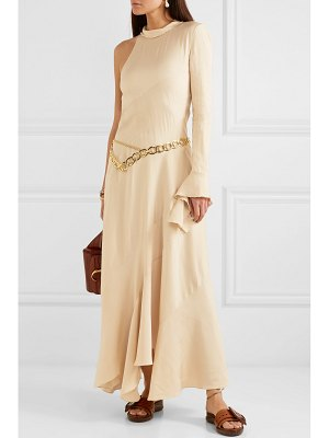Chloe frayed one-sleeve satin maxi dress