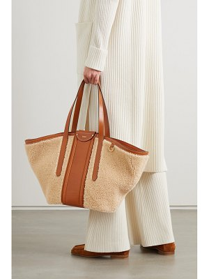 Chloe fredy medium leather-trimmed shearling tote