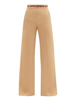 Chloe high-rise leather-belted crepe wide-leg trousers