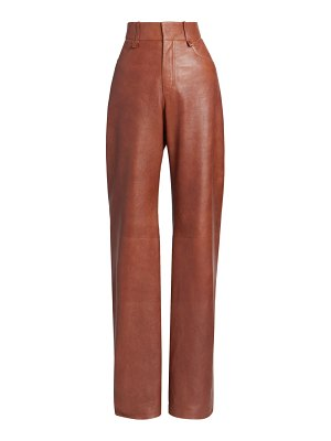 Chloe high-rise textured leather trousers