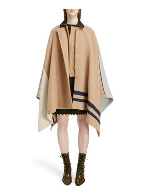 Chloe iconic stripe wool blend cape
