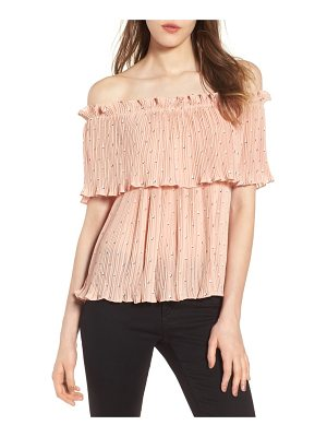 CHLOE & KATIE Chloe + Katie Ruffle Pleated Off The Shoulder Top