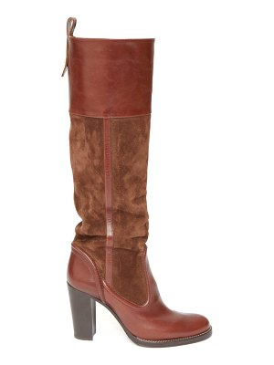 Chloe knee-high leather and suede boots