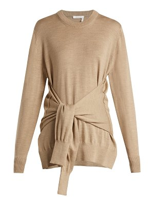 Chloe Knotted Sleeve Waist Wool Sweater
