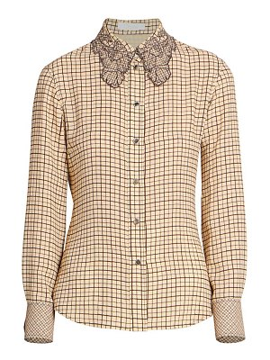 Chloe lace-collar windowpane plaid blouse