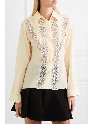 Chloe lace-trimmed silk crepe de chine shirt